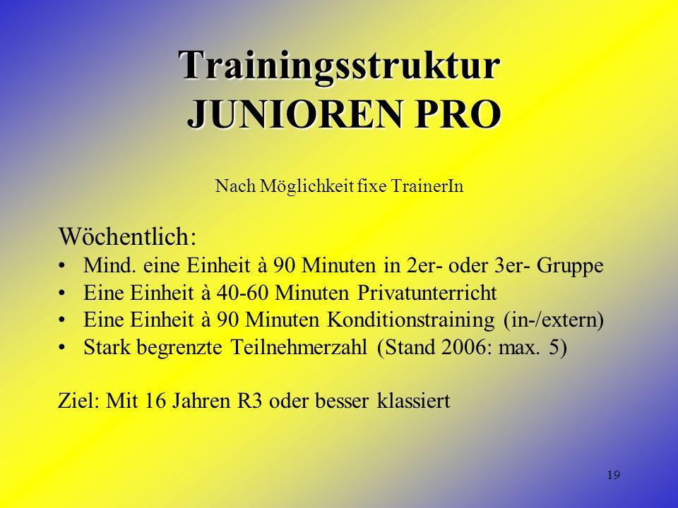 19 Trainingsstruktur JUNIOREN PRO Nach Möglichkeit fixe TrainerIn Wöchentlich: Mind. eine Einheit à 90 Minuten in 2er- oder 3er- Gruppe Eine Einheit à