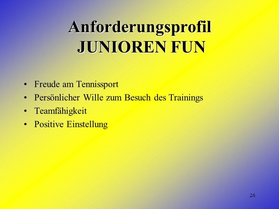 26 Anforderungsprofil JUNIOREN FUN Freude am Tennissport Persönlicher Wille zum Besuch des Trainings Teamfähigkeit Positive Einstellung