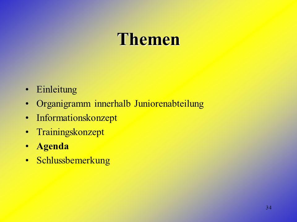 34 Themen Einleitung Organigramm innerhalb Juniorenabteilung Informationskonzept Trainingskonzept Agenda Schlussbemerkung