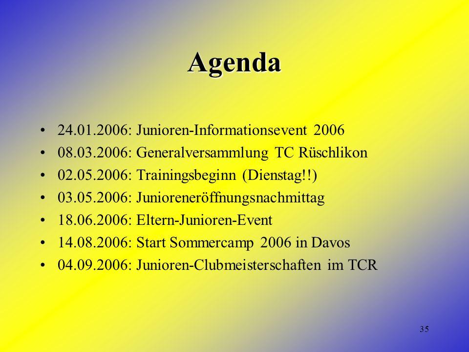35 Agenda 24.01.2006: Junioren-Informationsevent 2006 08.03.2006: Generalversammlung TC Rüschlikon 02.05.2006: Trainingsbeginn (Dienstag!!) 03.05.2006: Junioreneröffnungsnachmittag 18.06.2006: Eltern-Junioren-Event 14.08.2006: Start Sommercamp 2006 in Davos 04.09.2006: Junioren-Clubmeisterschaften im TCR