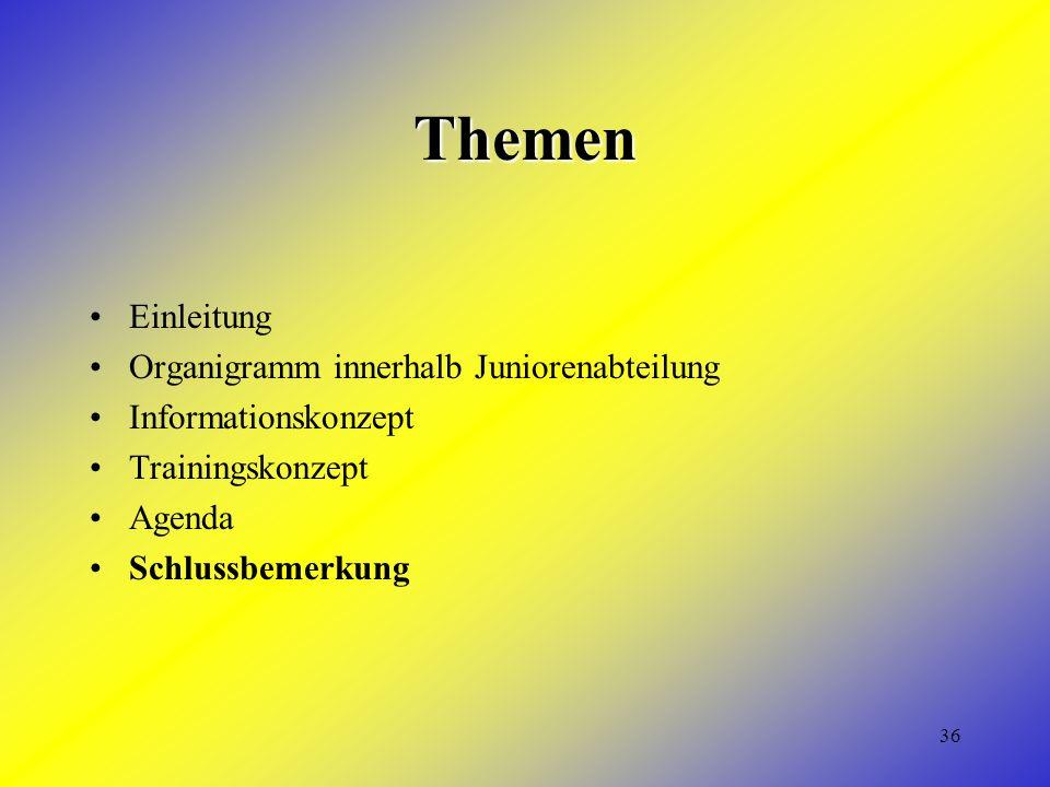 36 Themen Einleitung Organigramm innerhalb Juniorenabteilung Informationskonzept Trainingskonzept Agenda Schlussbemerkung