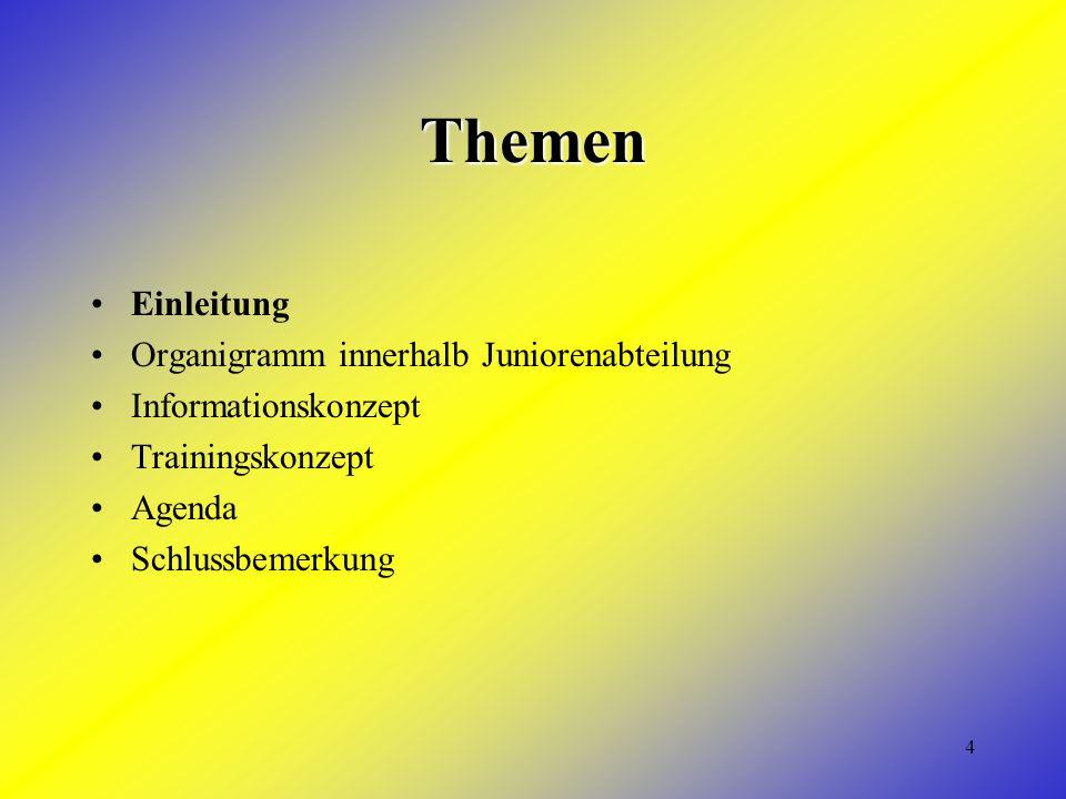 4 Themen Einleitung Organigramm innerhalb Juniorenabteilung Informationskonzept Trainingskonzept Agenda Schlussbemerkung
