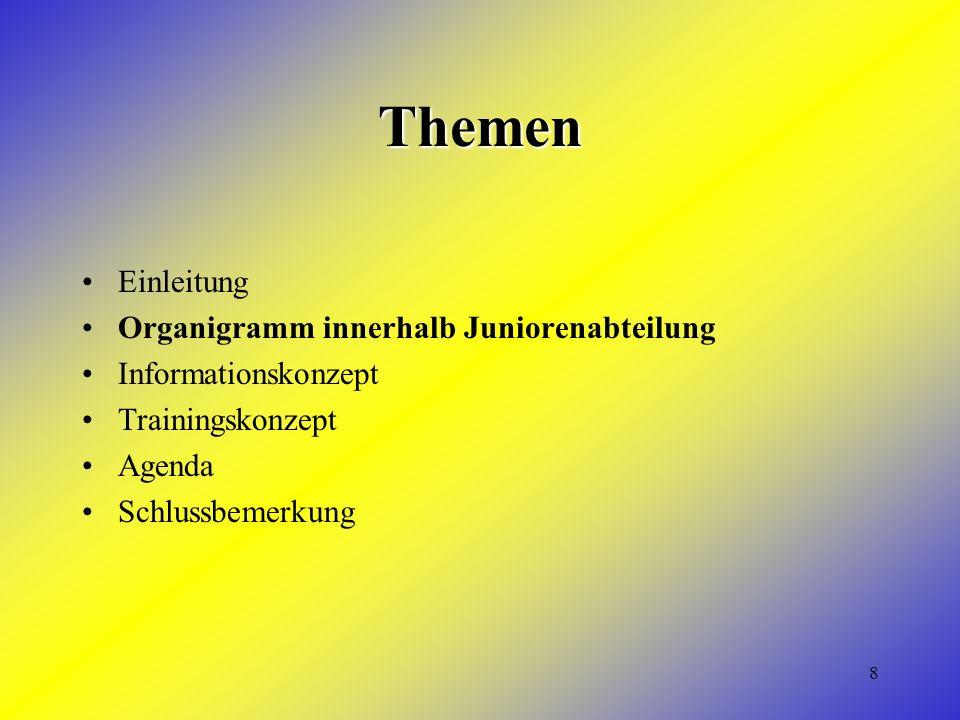 8 Themen Einleitung Organigramm innerhalb Juniorenabteilung Informationskonzept Trainingskonzept Agenda Schlussbemerkung