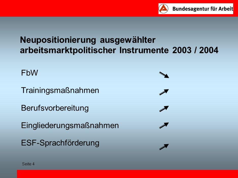 Neupositionierung ausgewählter arbeitsmarktpolitischer Instrumente 2003 / 2004 FbW Trainingsmaßnahmen Berufsvorbereitung Eingliederungsmaßnahmen ESF-Sprachförderung Seite 4