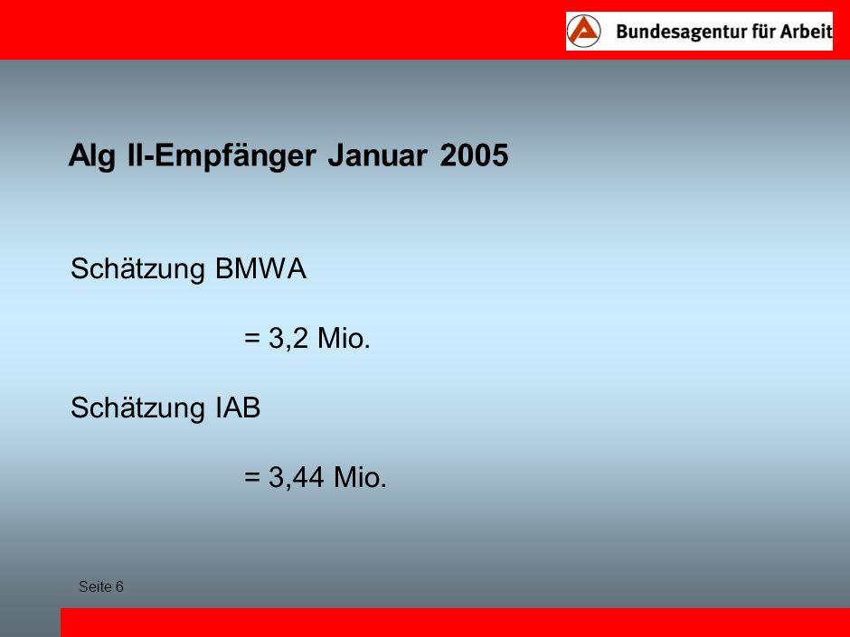 Alg II-Empfänger Januar 2005 Schätzung BMWA = 3,2 Mio. Schätzung IAB = 3,44 Mio. Seite 6
