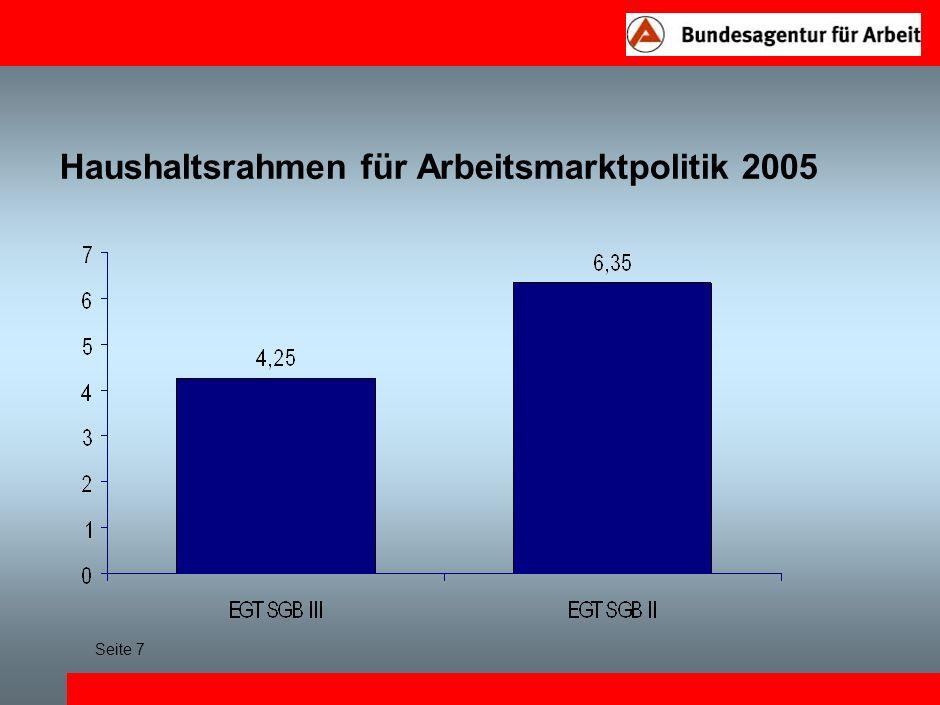 Haushaltsrahmen für Arbeitsmarktpolitik 2005 Seite 7