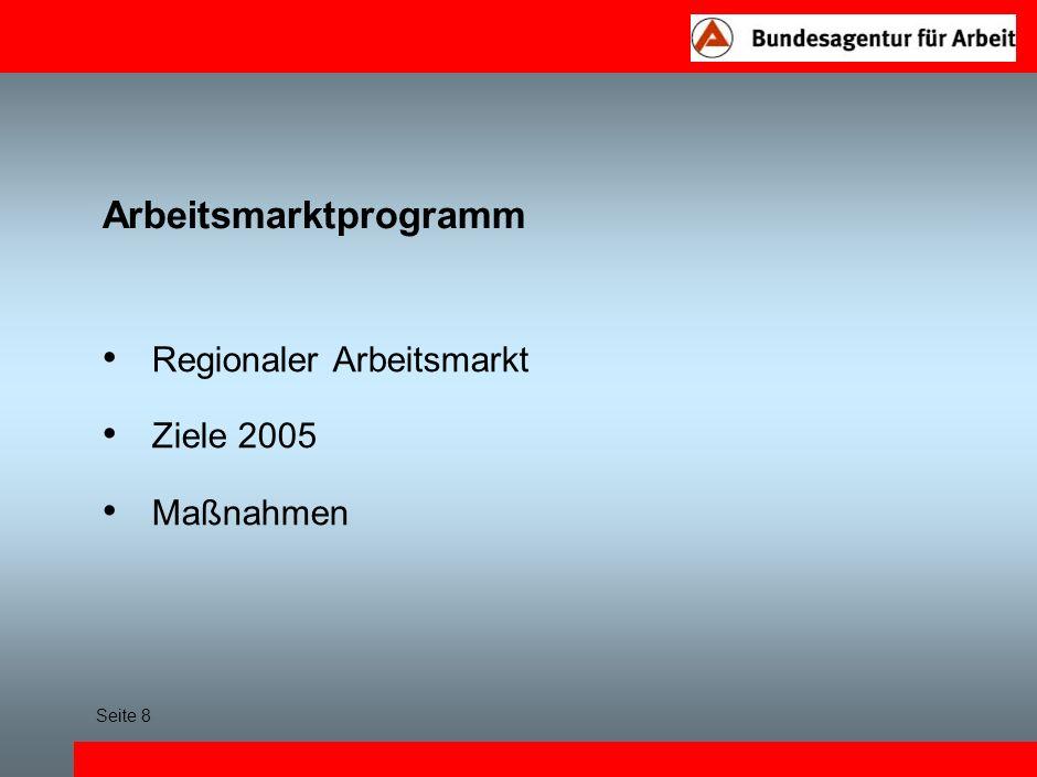 Arbeitsmarktprogramm Regionaler Arbeitsmarkt Ziele 2005 Maßnahmen Seite 8