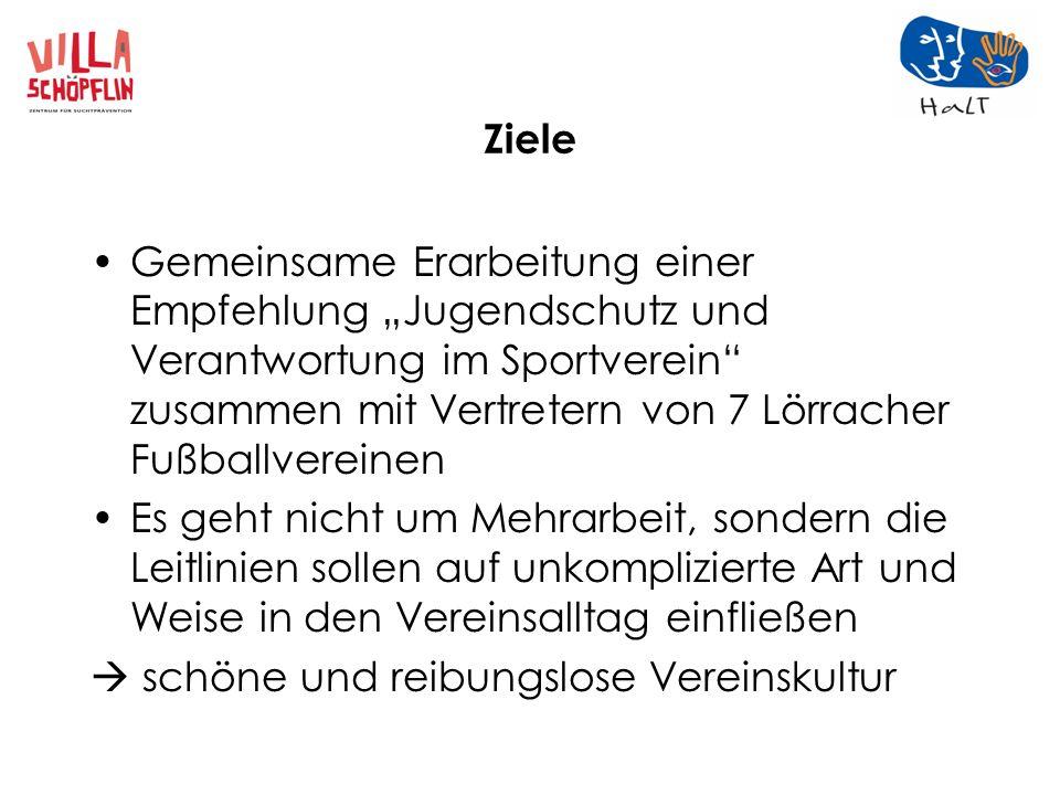 Ziele Gemeinsame Erarbeitung einer Empfehlung Jugendschutz und Verantwortung im Sportverein zusammen mit Vertretern von 7 Lörracher Fußballvereinen Es