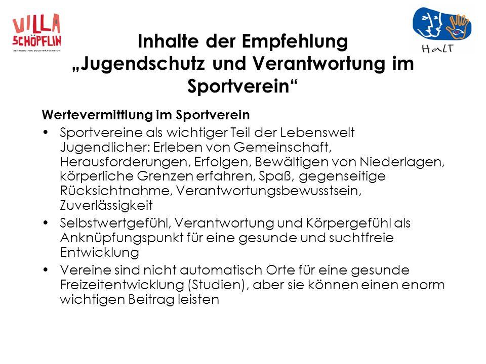 Inhalte der Empfehlung Jugendschutz und Verantwortung im Sportverein Ohne Ehrenamt läuft nichts.