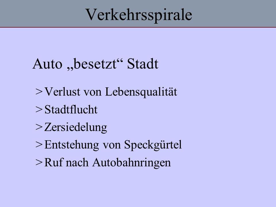 Verkehrsspirale Auto besetzt Stadt >Verlust von Lebensqualität >Stadtflucht >Zersiedelung >Entstehung von Speckgürtel >Ruf nach Autobahnringen