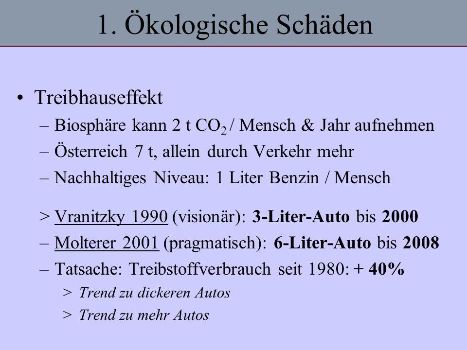 1. Ökologische Schäden Treibhauseffekt –Biosphäre kann 2 t CO 2 / Mensch & Jahr aufnehmen –Österreich 7 t, allein durch Verkehr mehr –Nachhaltiges Niv