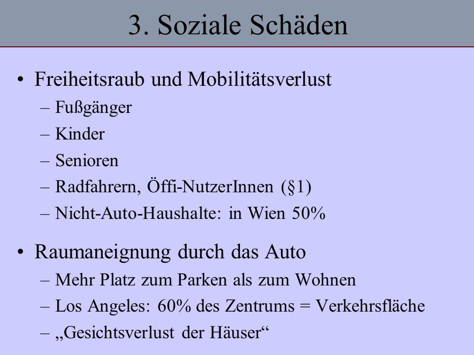 3. Soziale Schäden Freiheitsraub und Mobilitätsverlust –Fußgänger –Kinder –Senioren –Radfahrern, Öffi-NutzerInnen (§1) –Nicht-Auto-Haushalte: in Wien