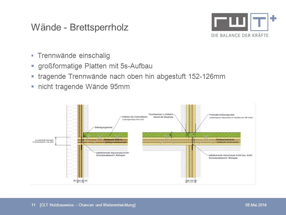 11 [CLT Holzbauweise – Chancen und Weiterentwicklung]08.Mai.2014 Wände - Brettsperrholz Trennwände einschalig großformatige Platten mit 5s-Aufbau trag
