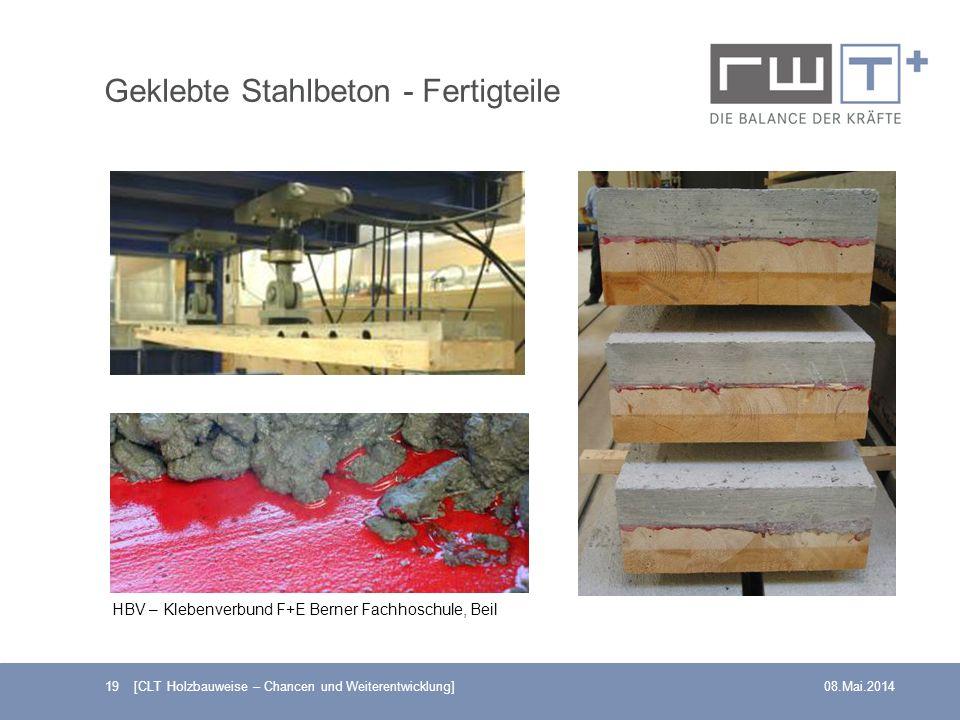 Geklebte Stahlbeton - Fertigteile 19 [CLT Holzbauweise – Chancen und Weiterentwicklung]08.Mai.2014 HBV – Klebenverbund F+E Berner Fachhoschule, Beil
