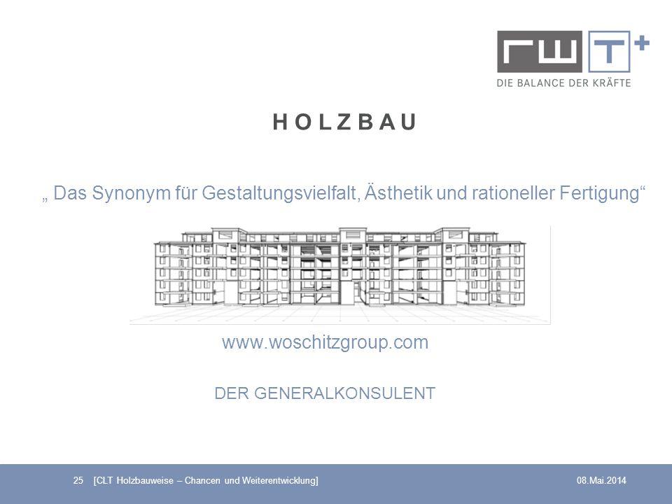 25 [CLT Holzbauweise – Chancen und Weiterentwicklung]08.Mai.2014 H O L Z B A U Das Synonym für Gestaltungsvielfalt, Ästhetik und rationeller Fertigung