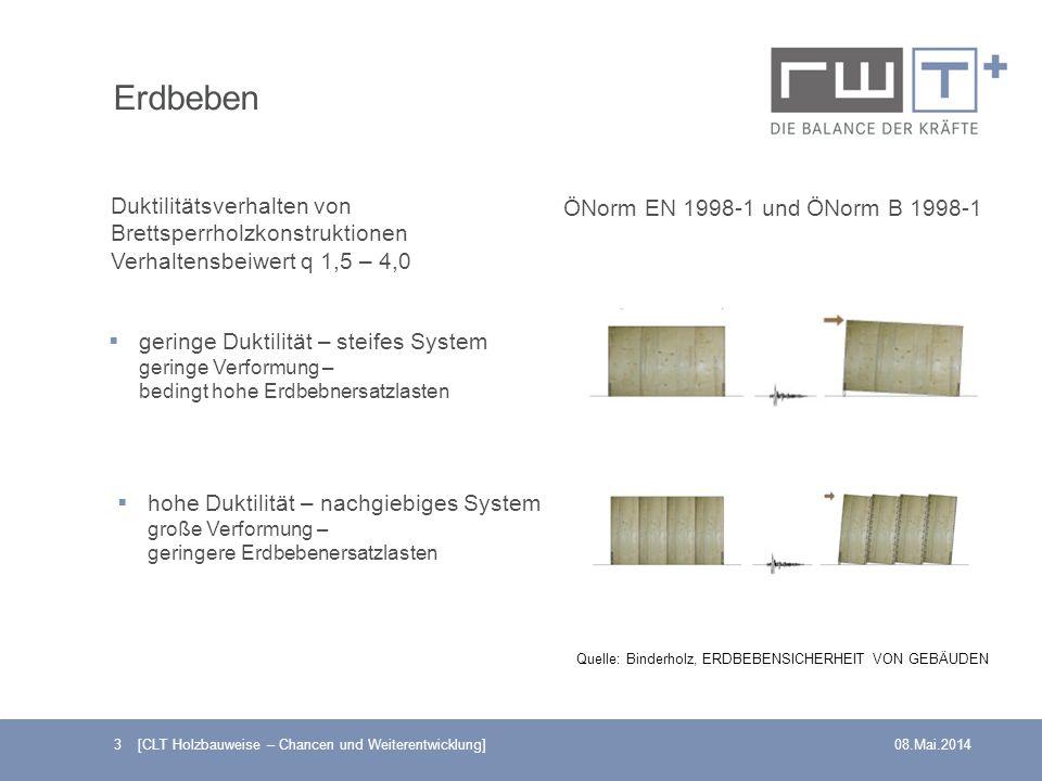 3 [CLT Holzbauweise – Chancen und Weiterentwicklung]08.Mai.2014 ÖNorm EN 1998-1 und ÖNorm B 1998-1 Duktilitätsverhalten von Brettsperrholzkonstruktion