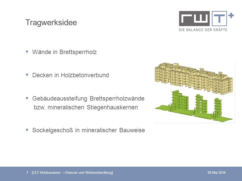 7 [CLT Holzbauweise – Chancen und Weiterentwicklung]08.Mai.2014 Tragwerksidee Wände in Brettsperrholz Decken in Holzbetonverbund Gebäudeaussteifung Br
