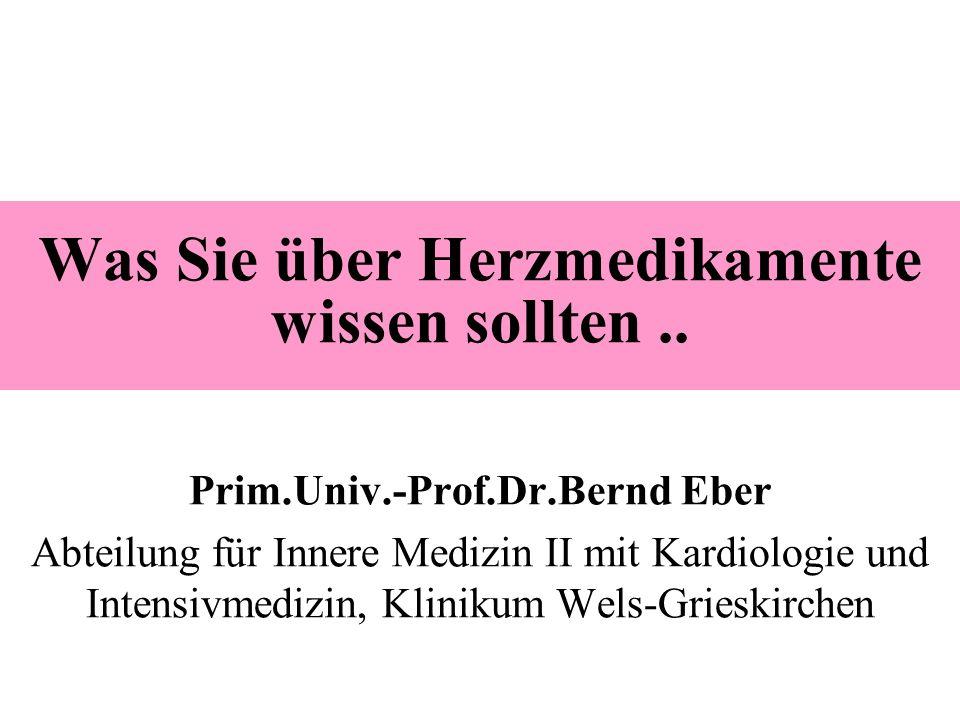 Was Sie über Herzmedikamente wissen sollten.. Prim.Univ.-Prof.Dr.Bernd Eber Abteilung für Innere Medizin II mit Kardiologie und Intensivmedizin, Klini