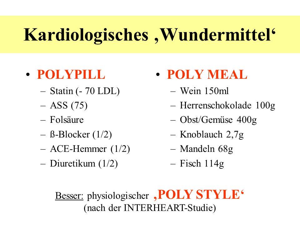 POLYPILL –Statin (- 70 LDL) –ASS (75) –Folsäure –ß-Blocker (1/2) –ACE-Hemmer (1/2) –Diuretikum (1/2) POLY MEAL –Wein 150ml –Herrenschokolade 100g –Obs