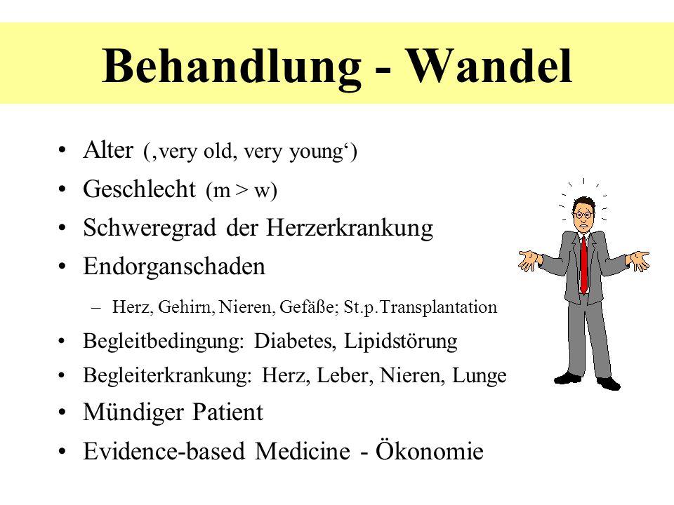 Alter (very old, very young) Geschlecht (m > w) Schweregrad der Herzerkrankung Endorganschaden –Herz, Gehirn, Nieren, Gefäße; St.p.Transplantation Beg