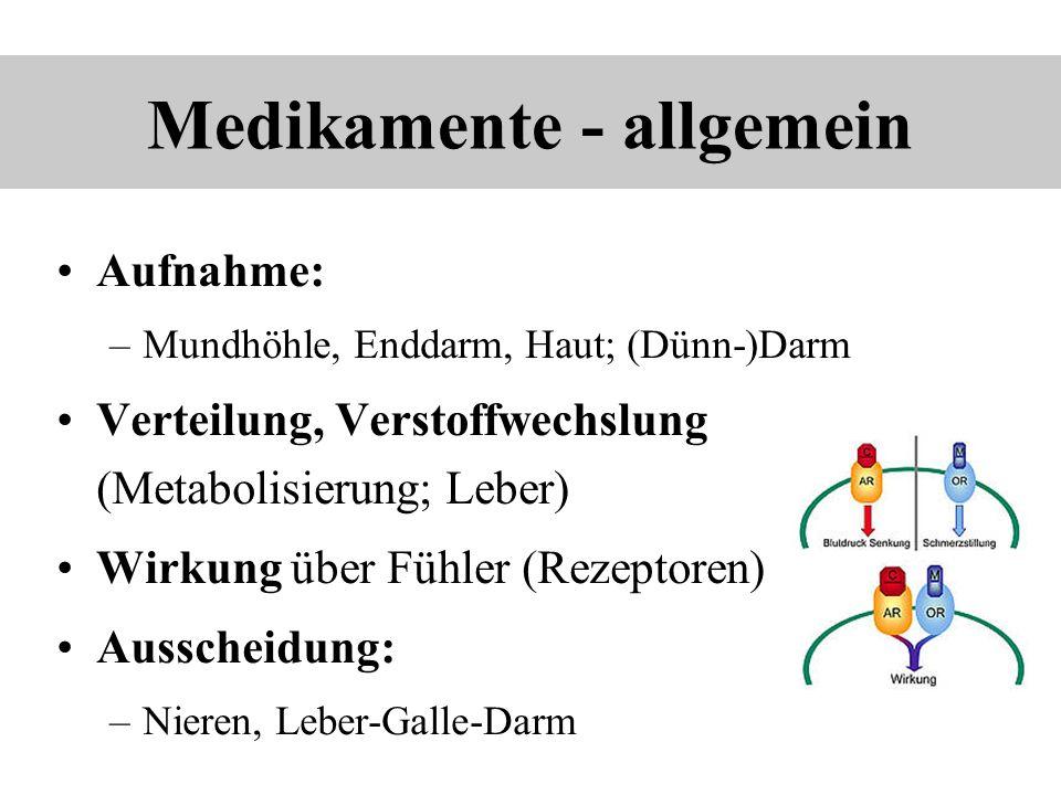 Medikamente - allgemein Aufnahme: –Mundhöhle, Enddarm, Haut; (Dünn-)Darm Verteilung, Verstoffwechslung (Metabolisierung; Leber) Wirkung über Fühler (R