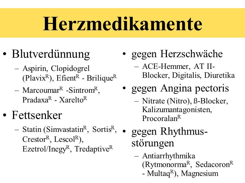 Herzmedikamente Blutverdünnung –Aspirin, Clopidogrel (Plavix R ), Efient R - Brilique R –Marcoumar R -Sintrom R, Pradaxa R - Xarelto R Fettsenker –Sta