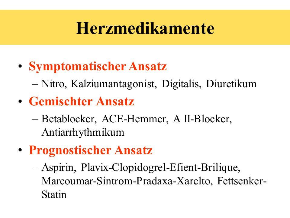 Symptomatischer Ansatz –Nitro, Kalziumantagonist, Digitalis, Diuretikum Gemischter Ansatz –Betablocker, ACE-Hemmer, A II-Blocker, Antiarrhythmikum Pro