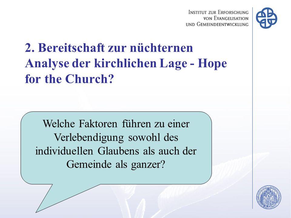 Welche Faktoren führen zu einer Verlebendigung sowohl des individuellen Glaubens als auch der Gemeinde als ganzer? 2. Bereitschaft zur nüchternen Anal