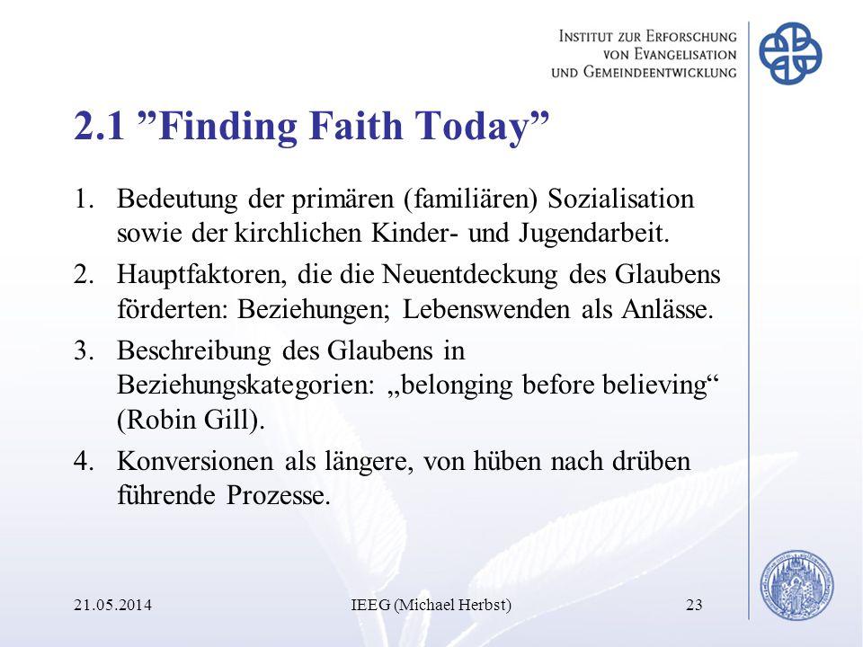 2.1 Finding Faith Today 1.Bedeutung der primären (familiären) Sozialisation sowie der kirchlichen Kinder- und Jugendarbeit. 2.Hauptfaktoren, die die N