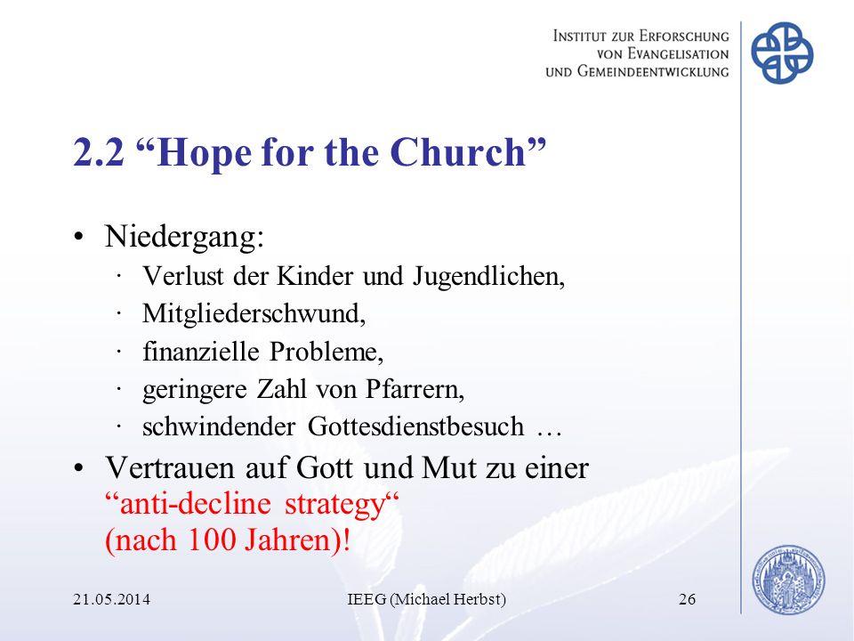 2.2 Hope for the Church Niedergang: ·Verlust der Kinder und Jugendlichen, ·Mitgliederschwund, ·finanzielle Probleme, ·geringere Zahl von Pfarrern, ·sc