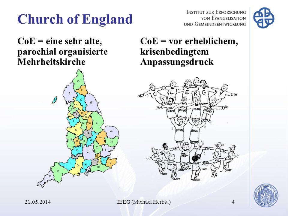 Church of England CoE = eine sehr alte, parochial organisierte Mehrheitskirche CoE = vor erheblichem, krisenbedingtem Anpassungsdruck 21.05.2014IEEG (