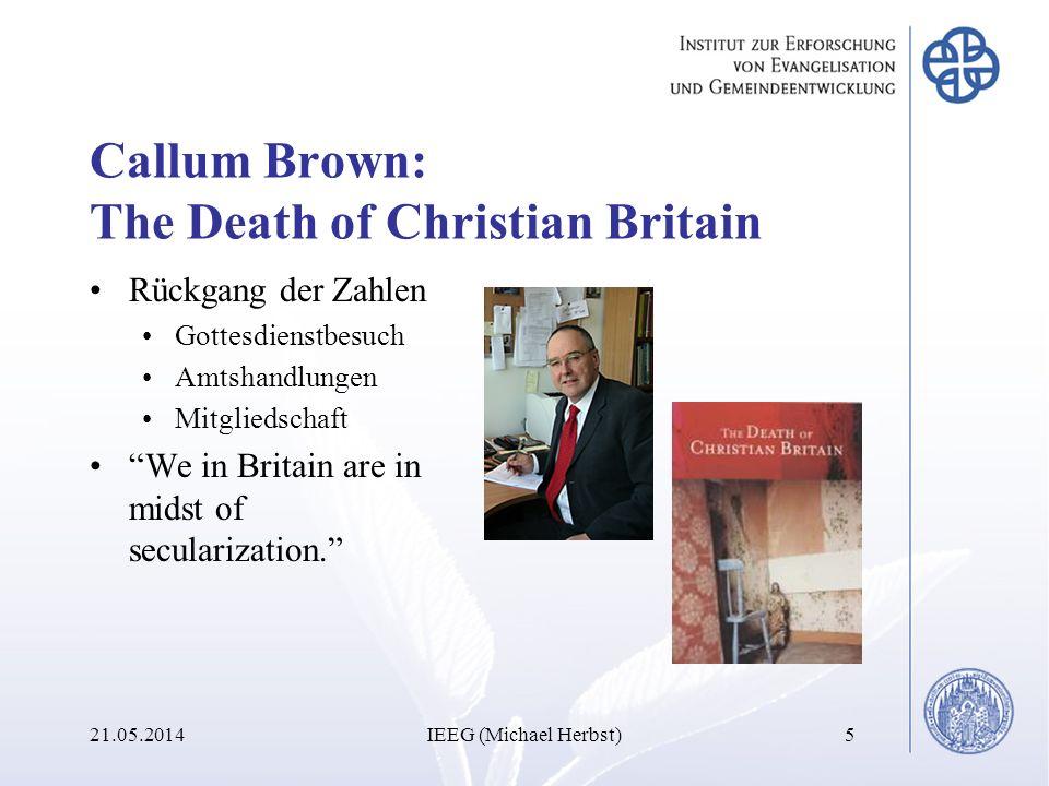 Callum Brown: The Death of Christian Britain Rückgang der Zahlen Gottesdienstbesuch Amtshandlungen Mitgliedschaft We in Britain are in midst of secula