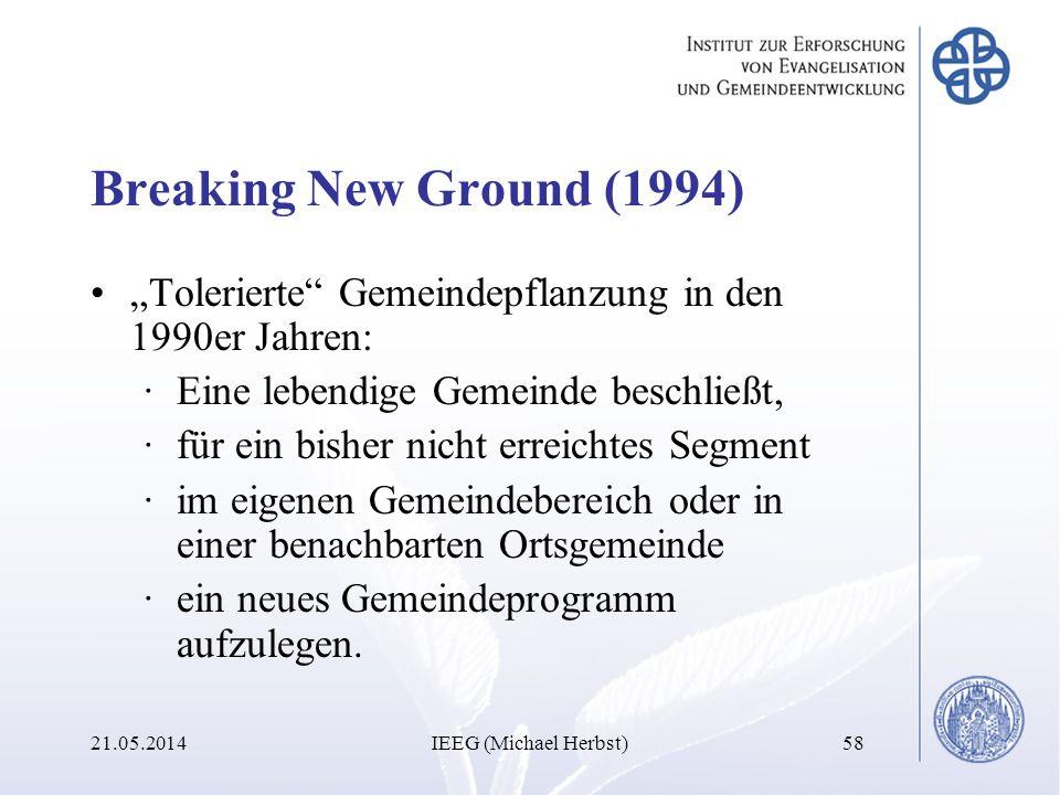 Breaking New Ground (1994) Tolerierte Gemeindepflanzung in den 1990er Jahren: ·Eine lebendige Gemeinde beschließt, ·für ein bisher nicht erreichtes Se
