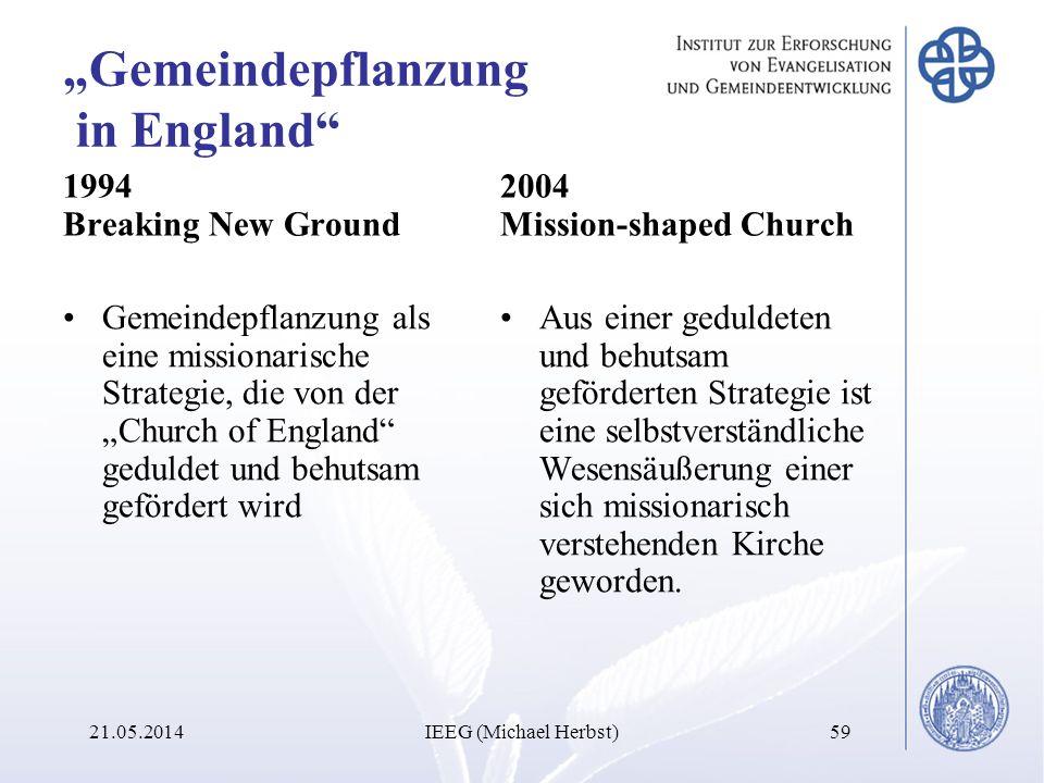 Gemeindepflanzung in England 1994 Breaking New Ground Gemeindepflanzung als eine missionarische Strategie, die von der Church of England geduldet und