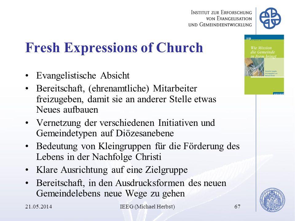 Fresh Expressions of Church Evangelistische Absicht Bereitschaft, (ehrenamtliche) Mitarbeiter freizugeben, damit sie an anderer Stelle etwas Neues auf