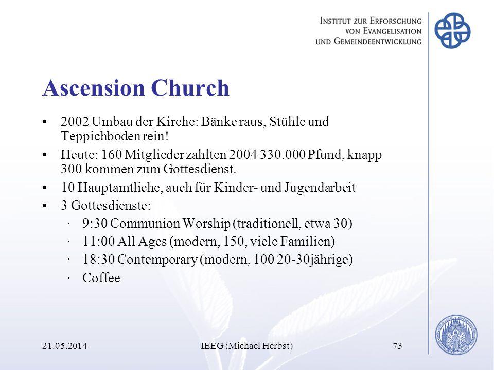Ascension Church 2002 Umbau der Kirche: Bänke raus, Stühle und Teppichboden rein! Heute: 160 Mitglieder zahlten 2004 330.000 Pfund, knapp 300 kommen z