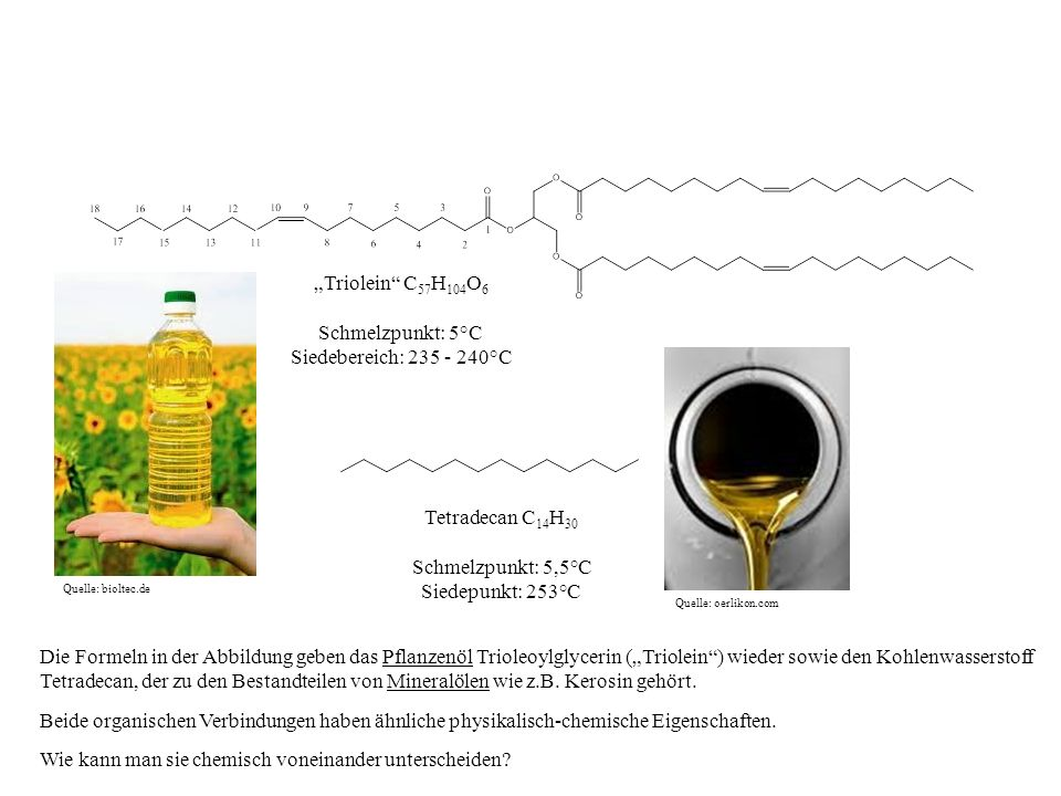 Tetradecan C 14 H 30 Schmelzpunkt: 5,5°C Siedepunkt: 253°C Triolein C 57 H 104 O 6 Schmelzpunkt: 5°C Siedebereich: 235 - 240°C Die Lösung dieser Frage führt uns zu den C=C-Doppelbindungen, über die lediglich das Pflanzenöl verfügt.