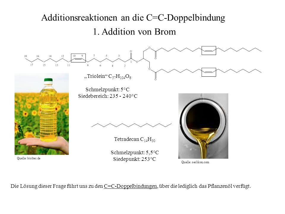 Untersuchen wir die typische Reaktion von Alkenen (= Verbindungen mit mindestens einer C=C-Doppelbindung als einziger funktioneller Gruppe) am Beispiel des Cyclohexen, welches mit elementarem Brom umgesetzt werden soll, einem zweiatomigen Halogen.