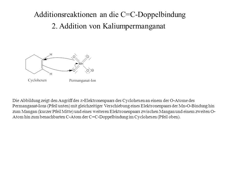 Das Resultat dieser gleichzeitig stattfindenden Elektronenpaarverschiebungen ist ein cyclischer (in diesem konkreten Fall sogar bicyclischer) Ester der (instabilen) Hypomangansäure, welcher ein Mn-O-C-C-O-Fünfringsystem aufweist.