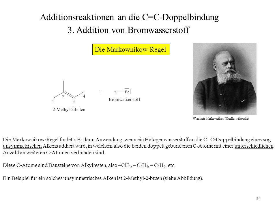 35 2-Methyl-2-buten ist deswegen ein unsymmetrisches Alken, weil vom C-2 des Moleküls zwei Einfachbindungen zu weiteren C-Atomen (von Methylgruppen) ausgehen, vom C-3 lediglich eine Einfachbindung (ebenfalls zu einer Methylgruppe).