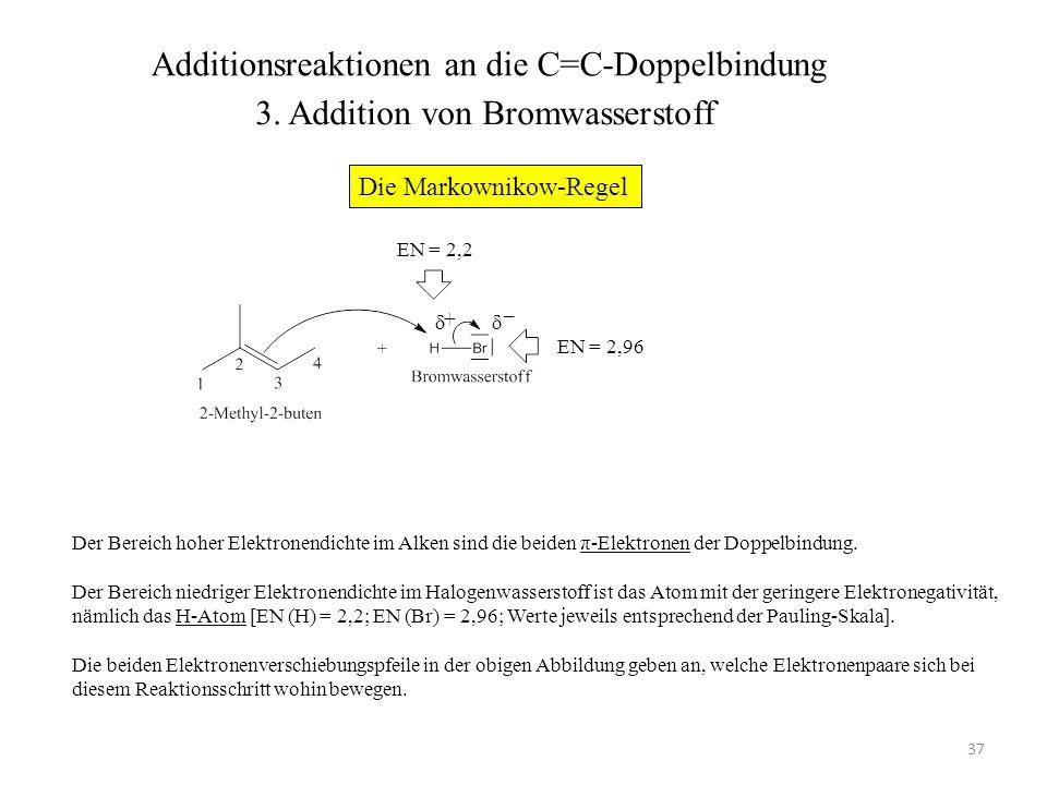 38 Das Alken wird protoniert, wobei das rechts abgebildete Carbenium-Ion als Zwischenprodukt entsteht.