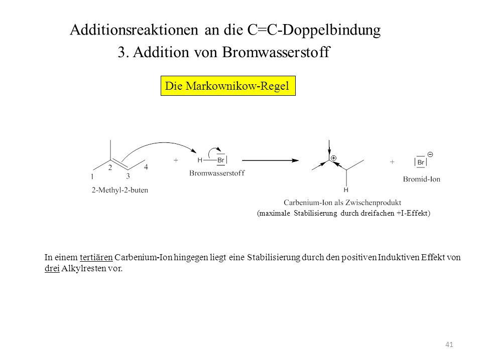 42 (maximale Stabilisierung durch dreifachen +I-Effekt) Im folgenden Schritt greift das Bromid-Ion mit einem seiner freien Elektronenpaare als Nucleophil am positiv geladenen C-Atom an.