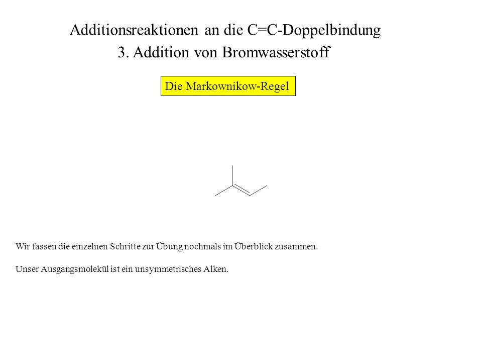 Zur Konstruktion des Produkts der Umsetzung mit HBr zeichnen wir zunächst das Grundgerüst des Moleküls ohne die C=C-Doppelbindung.