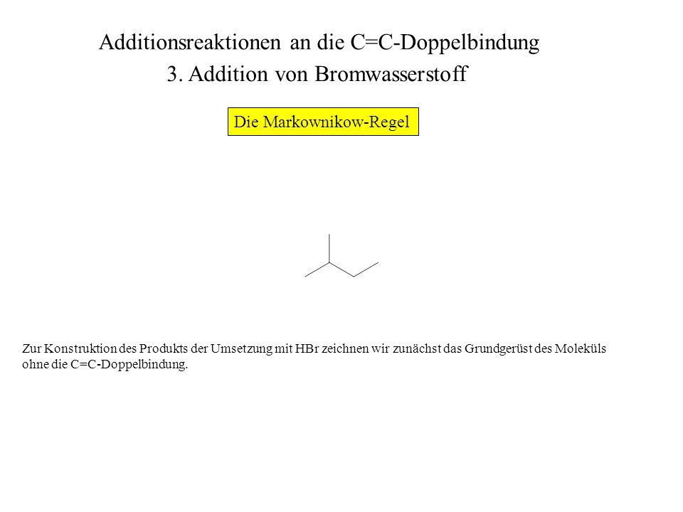 Wir markieren (entweder nur im Kopf oder auf dem Papier mit einem Bleistift) die Positionen der beiden C- Atome der Doppelbindung.