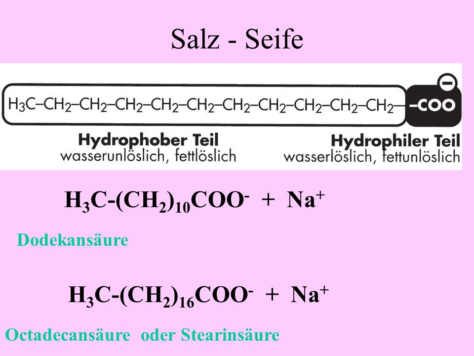 Salzbildung Seife Na + OH - + H 2 O + Na + Salz: Org. Säureanion und Metallkation Na-Acetat oder Na-Ethanat