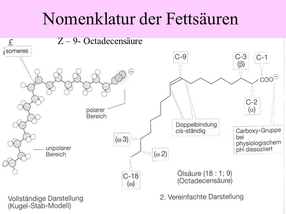 Gesättigte und ungesättigte Fettsäuren C 17 H 33 COOH C 17 H 35 COOH Cis-Form