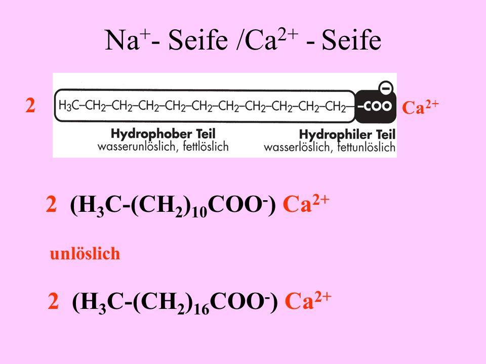 Na + - Seife /Ca 2+ - Seife H 3 C-(CH 2 ) 10 COO - + Na + H 3 C-(CH 2 ) 16 COO - + Na + Dodekansäure Octadecansäure oder Stearinsäure Na +