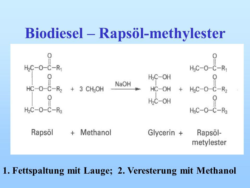 Fettsäuren Gewinnt man durch Verseifung aus Fetten Mit Laugen Seifenbildung Durch Umesterung Bildung von Biodiesel Veresterung mit Schwefelsäure zum T