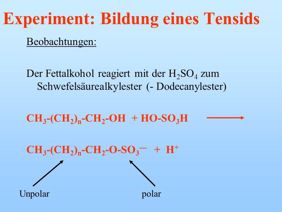 Experiment: Bildung eines Tensids Schwefelsäurealkylester Materialien: Fettalkohol (z.B. Dodecanol oder Cetylalkohol), Schwefelsäure H 2 SO 4, RG, Bre