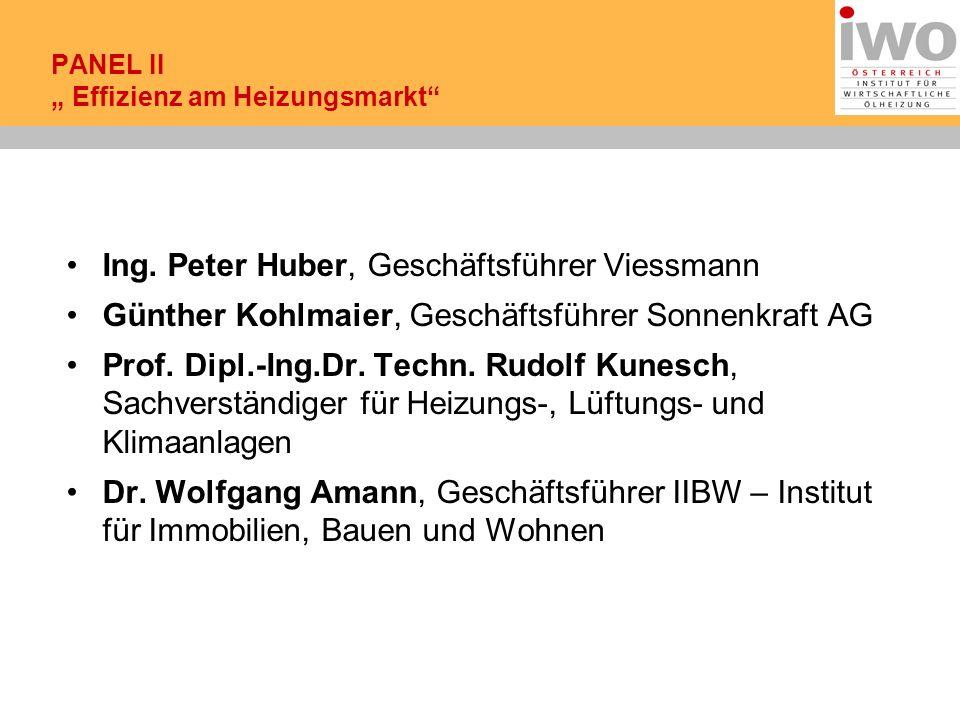 Ing. Peter Huber, Geschäftsführer Viessmann Günther Kohlmaier, Geschäftsführer Sonnenkraft AG Prof.